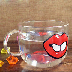 Handmade Cartoon Glass Cup High Temperature Resistant Transparent Water Mug Cat Pig Nose Pattern Glass Mug - Slabiti