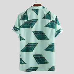 Mens Summer Creative Printing Short Sleeve Loose Shirts - Slabiti