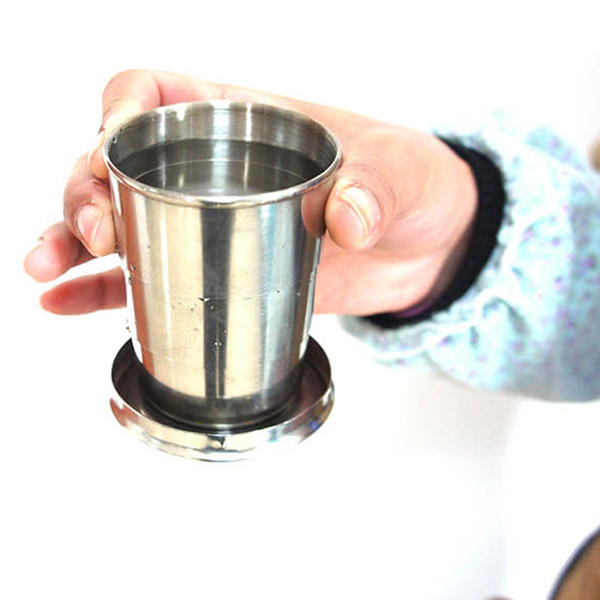 Stainless Steel Collapsible Folding Cup Traveling Outdoor Portable Drinking Cup - Slabiti
