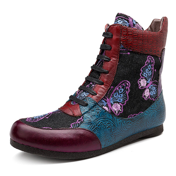 SOCOFY Handmade Pattern Ankle Lace Up Zipper Leather Boots