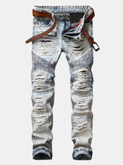 Motorcycle Vintange Holes Folds Ripped Washed Jeans for Men - Slabiti