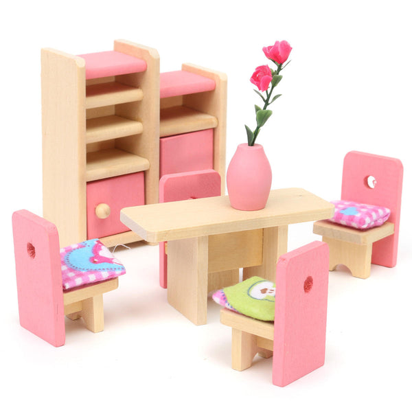 Wooden Doll Set Children Toys Miniature House Family Furniture Kit  Accessories - Slabiti