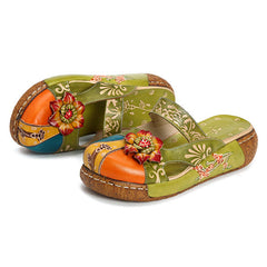 SOCOFY Vintage Colorful Leather Hollow Out Backless Flower Shoes - Slabiti