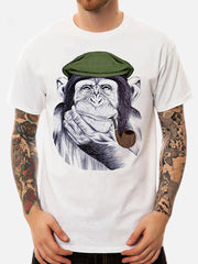 Men Monkey Printed Short Sleeve Crew Neck Cotton Cute T-Shirts - Slabiti
