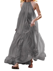 Women Solid Color Pleated Loose Sleeveless Dress