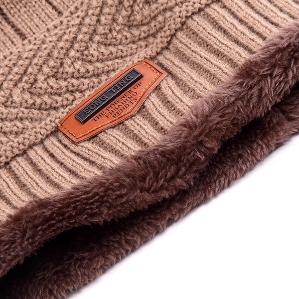 Men Male Knitted Slouch Beanie Hat Coral Fleece Linen Double Layers Elastic Mountaineering Outdooors Cap - Slabiti