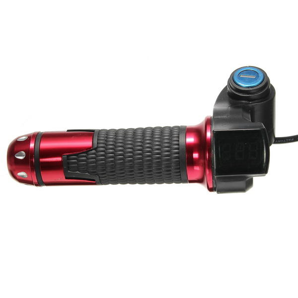12V-99V Universal Motorcycle Voltage Display Digital Handlebar Grip With Lock Keys - Slabiti