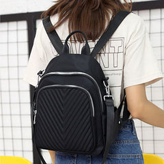 Women Nylon Waterproof Quilting Shoulder Bag Solid Backpack - Slabiti