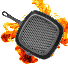 Non-Stick Cast Iron Grill Frying Pan Griddle BBQ Kitchen Cooking Baking Tool Non-Stick Pan - Slabiti