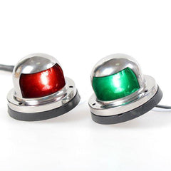 Pair 12V Red & Green Stainless Steel Navigation Light For Marine Boat Yacht - Slabiti