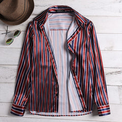 Mens Floral Printing Summer Fashion Long Sleeve Striped Shirts - Slabiti