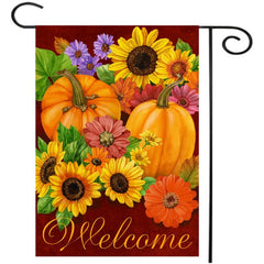 12.5'' x 18'' Pumpkin Flower Welcome Autumn Fall Garden Flag Yard Banner Decor Decorations - Slabiti
