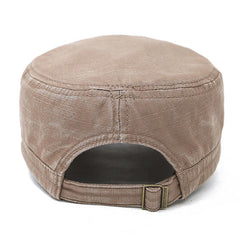 Mens Washed Cotton Solid Flat Top Cap Outdoor Military Sunshade Cap Hat Adjustable - Slabiti