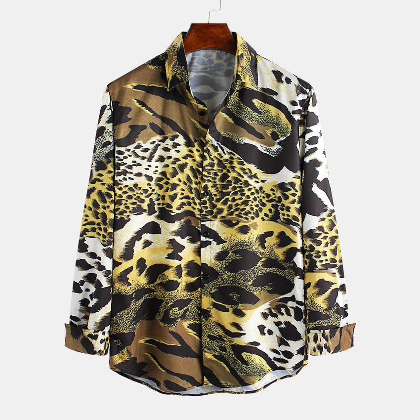 Mens Leopard Printed Casual Fashion Long Sleeve Lapel Shirts - Slabiti