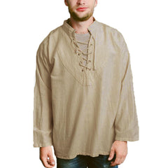 Mens Cotton Long Sleeve Ethnic Style Loose Casual Tops - Slabiti