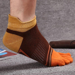 Mens Fashion Five Toes Cotton Socks Spell Color Casual Comfortable Socks - Slabiti