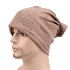 Men Dual Use Cotton Knitted Beanie Hat Casual Solid Color Autumn Scarf - Slabiti