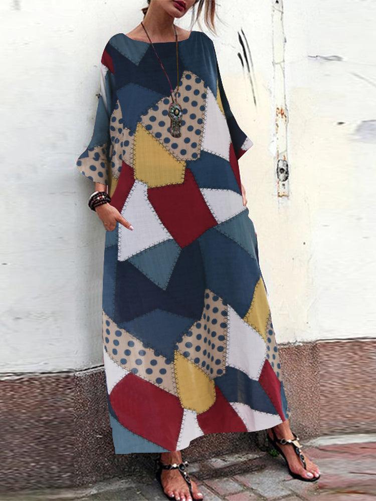 Bohemian Geometric Print Loose Casual Maxi Dress