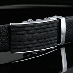 125-130CM Business Leather Strap Fashion Automatic Buckle Belt Waistband For Mens - Slabiti