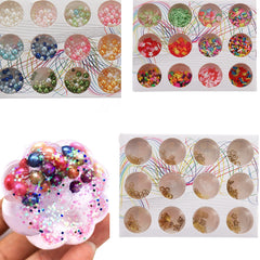12PCS/Set Handmade Slime DIY Material Colorful Beads Fruit Slice Soft Ceramic Granules Pearl Powder - Slabiti