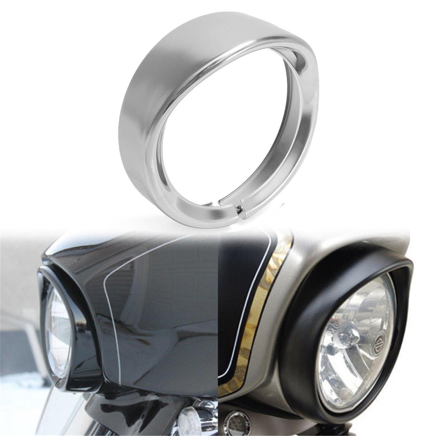 7inch Headlight Headlamp Trim Ring Protect Guard Cover Cap Chrome For Harley - Slabiti