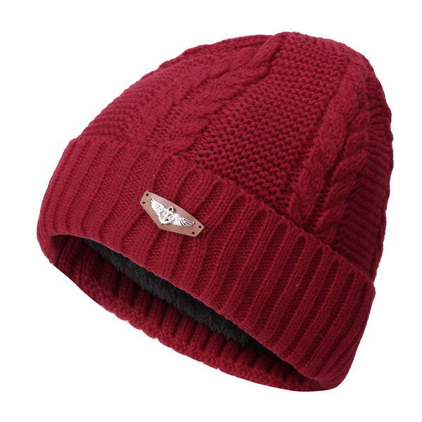 Men Women Plus Cashmere Knitted Warm Beanie Cap Ear Protection Solid Outdoor Hats - Slabiti