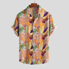 Men Hawaiian Colorful Leaf Printed Turn Down Collar Short Sleeve Loose Shirts - Slabiti
