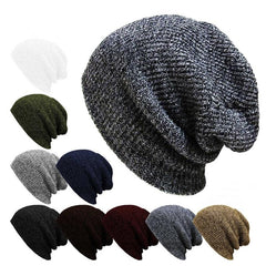 Unisex  Men Women Stripe Knitted Slouch Beanie Hat  Pure Color Elastic Winter Warm Cap - Slabiti