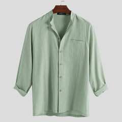 Mens Fashion 100% Cotton Pocket Solid Color Casual Shirts - Slabiti