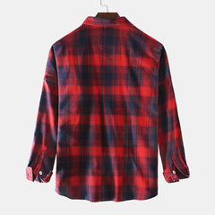 Mens Cotton Contrast Color Plaid College Style Long Sleeve Shirts - Slabiti