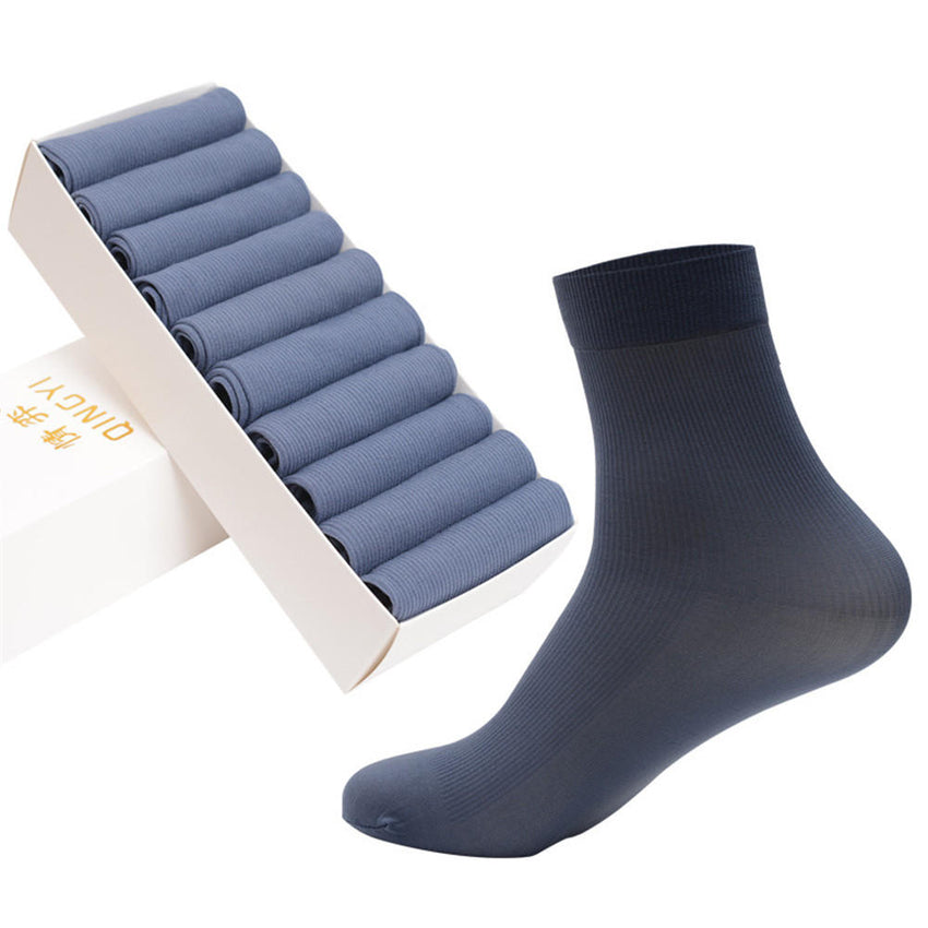 5 Pairs Set Men Summer Fiber Solid Color Short Tube Socks Breathable Deodorant Soft Sock - Slabiti