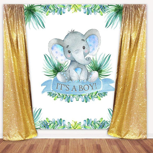 2 Types Cute Elephant Shower Backdrop Birthday Party Baby Photography Background Cloth Studio Props - Slabiti