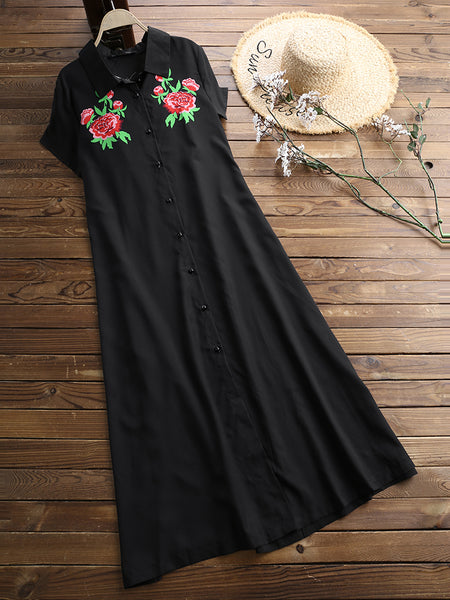 Embroidery Flower Summer Shirt Dress