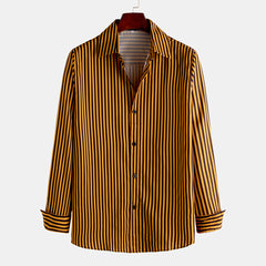 Mens Fashion Concise Stripe Single Breasted Long Sleeve Lapel Shirts - Slabiti