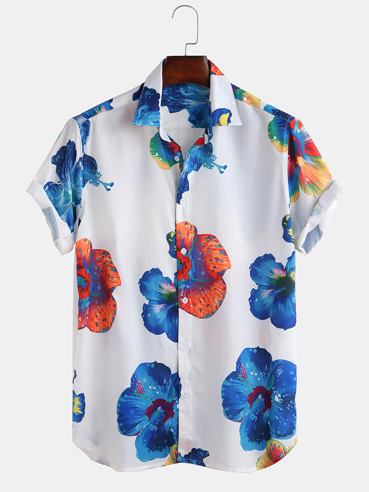 Men Oriental Floral Print Short Sleeve Relaxed Shirts - Slabiti