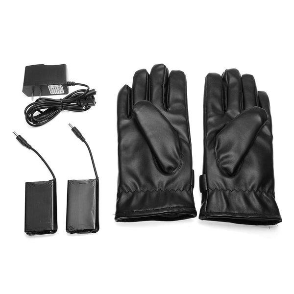 Leather Rechargeable Battery Electric Heated Hands Racing Winter Warmer Gloves - Slabiti