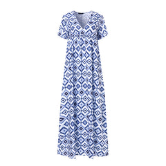 Women Summer Beach Short Sleeve Bohemia Printed Maxi Dress