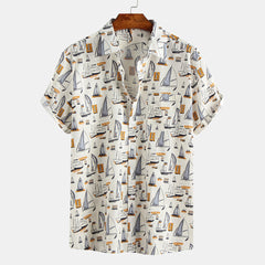 Men Sailboat Print Short Sleeve Hawaiian Shirts - Slabiti
