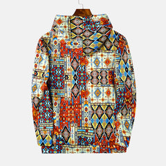 Mixed Color Ethnic Pattern Print Long Sleeve Vintage Hoodies Sweatshirts - Slabiti