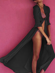 Half Sleeve Solid Long Maxi Beach Holiday Dress - Slabiti