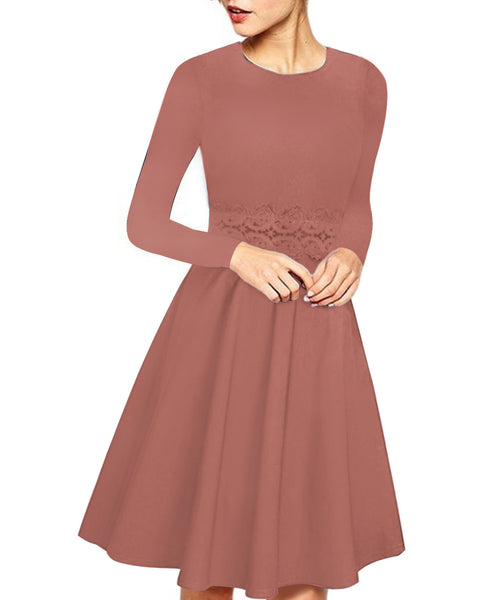 Women Elegant Long Sleeve Lace Patchwork Midi A Line Dress