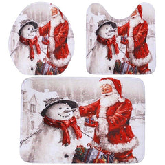 3Pcs/Set Bathroom Non-Slip Christmas Style Bathroom Carpet Rug Toilet Seat Cover Mat Set - Slabiti
