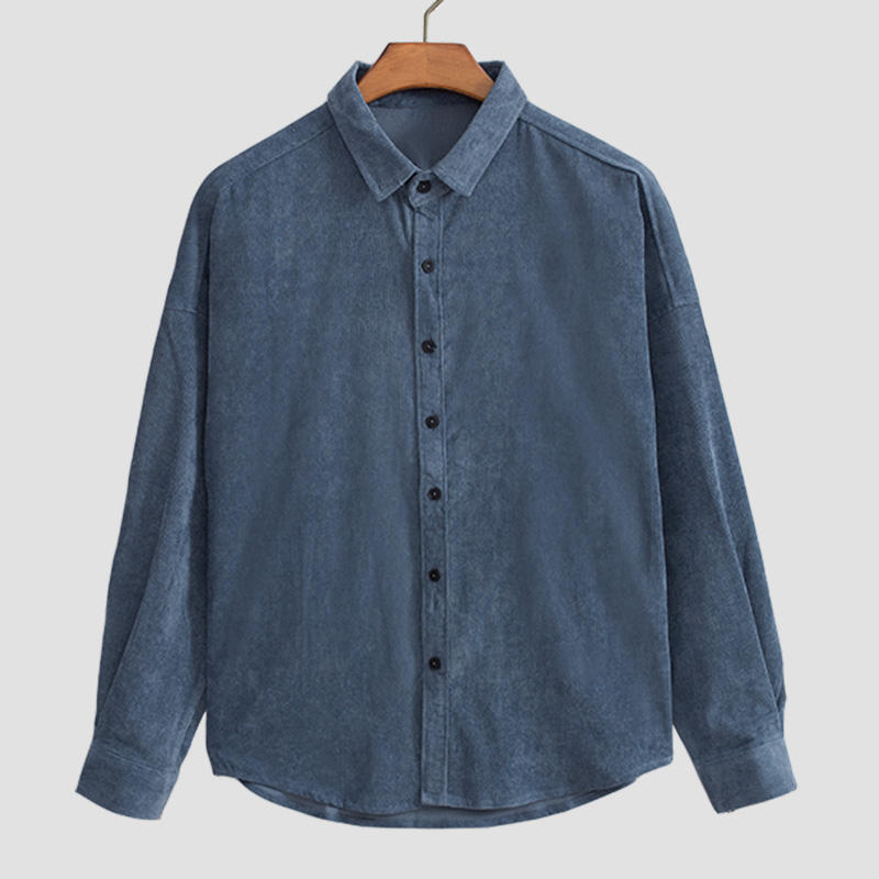 Men Corduroy Solid Color Letter Embroidery Loose Shirts - Slabiti