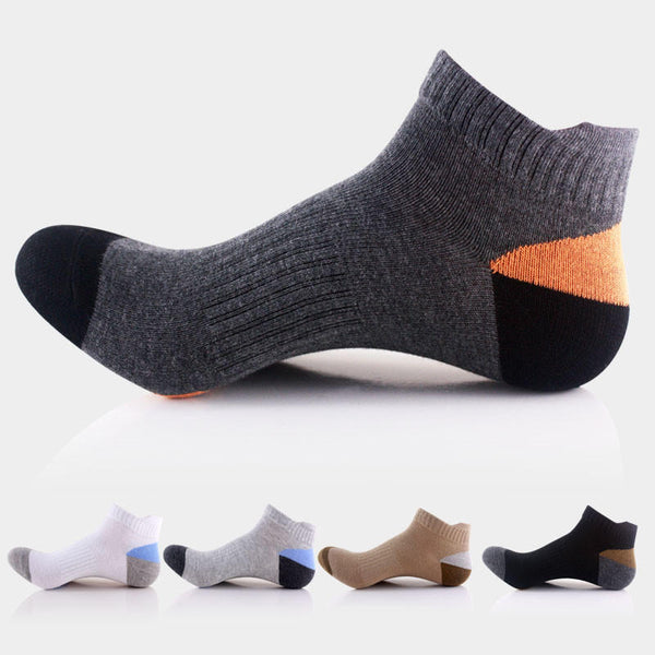 Men Sports Basketball Colors Patchwork Short Tube Socks - Slabiti