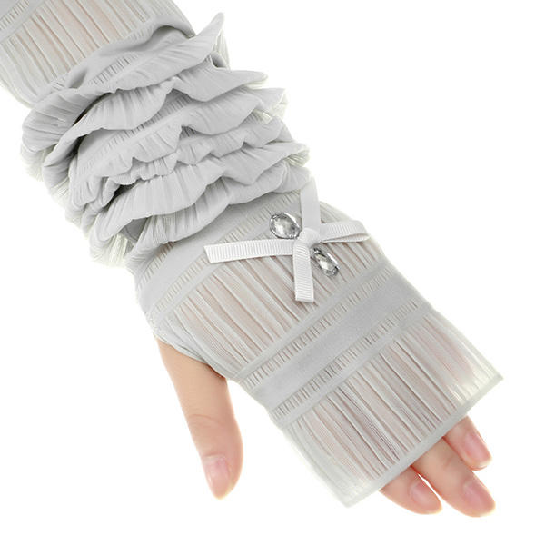 Summer Lady Lace Silk Gloves Printed Long Sleeves Anti-UV Sun Fingerless Arm Multicolor - Slabiti