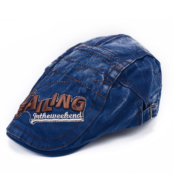 Mens Vintage Beret Hat SAILING Embroidery Washed Cotton Paper Boy Cap - Slabiti