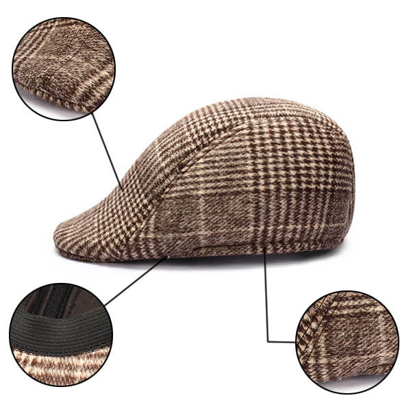 Unisex Men Women Cotton Blend Gird Stripe Newsboy Beret Hat Duckbill Cowboy Golf Flat Cabbie Cap - Slabiti