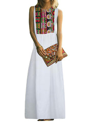 Ethnic Women Sleeveless Floral Print Side Split Hem Dress
