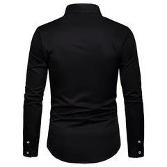 Mens Solid Color Cotton Long Sleeve Casual Shirts - Slabiti
