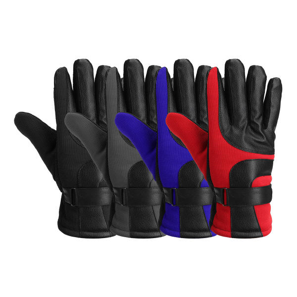 Motorcycle Leather Gloves Touch Screen Winter Warm Waterproof Red Blue Black Grey - Slabiti
